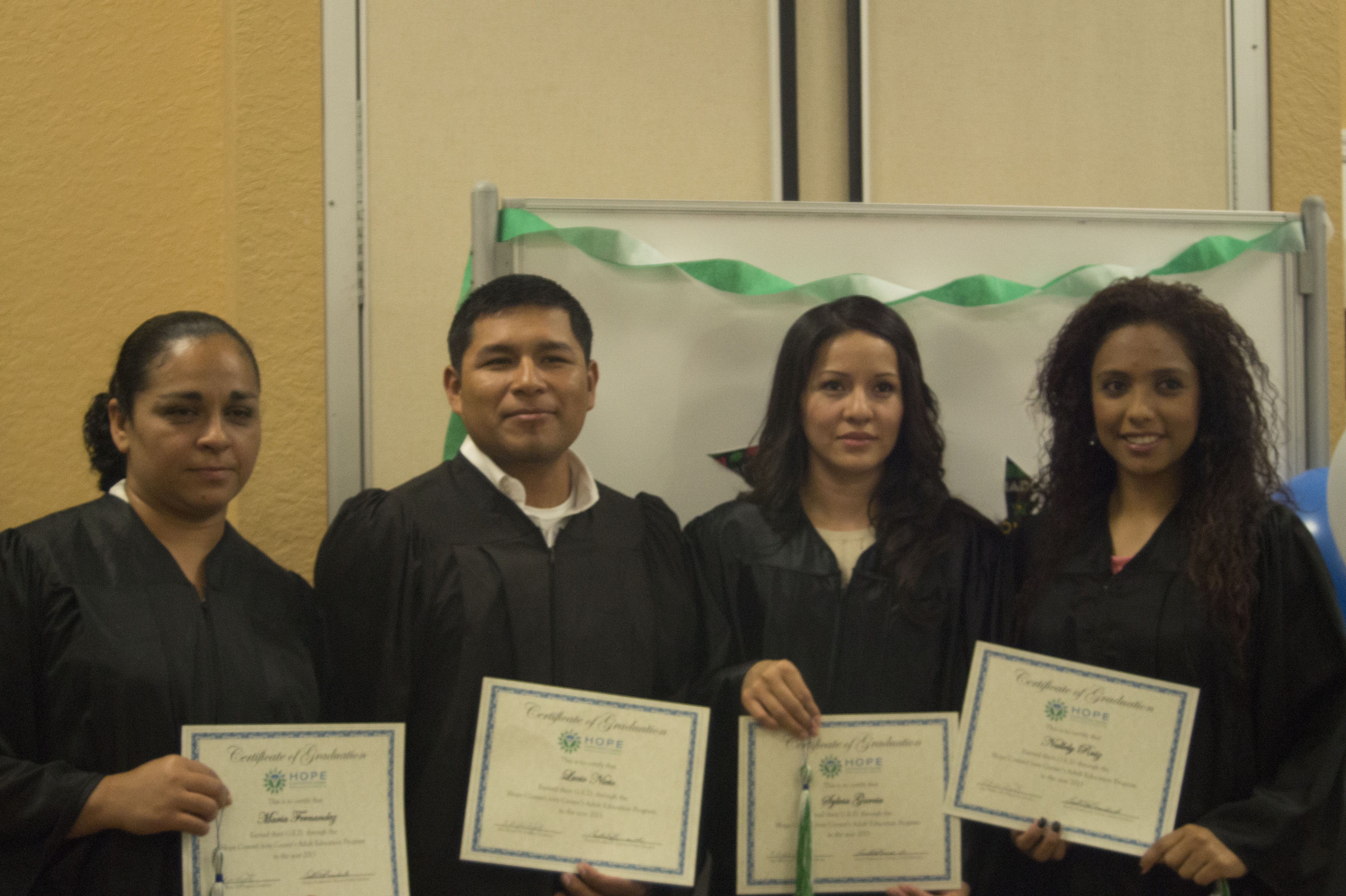 the ged program held its first graduation hope community center