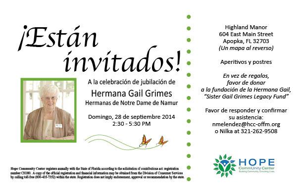 Sister Gail Invitacion Espanol