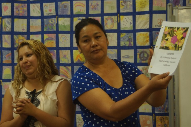 Marlene encourages Mom as she shares her written story with group,